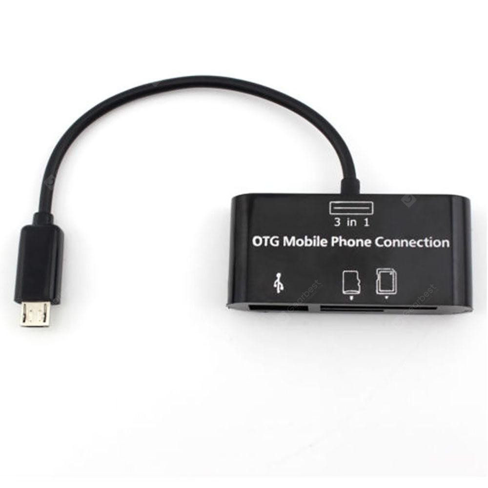 Durable 3 in 1 OTG Phone Adapter Connector USB Port HUB Connection Kit