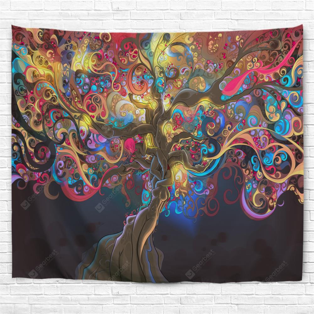 Colorful Trees 3D Printing Home Wall Hanging Tapestry for Decoration