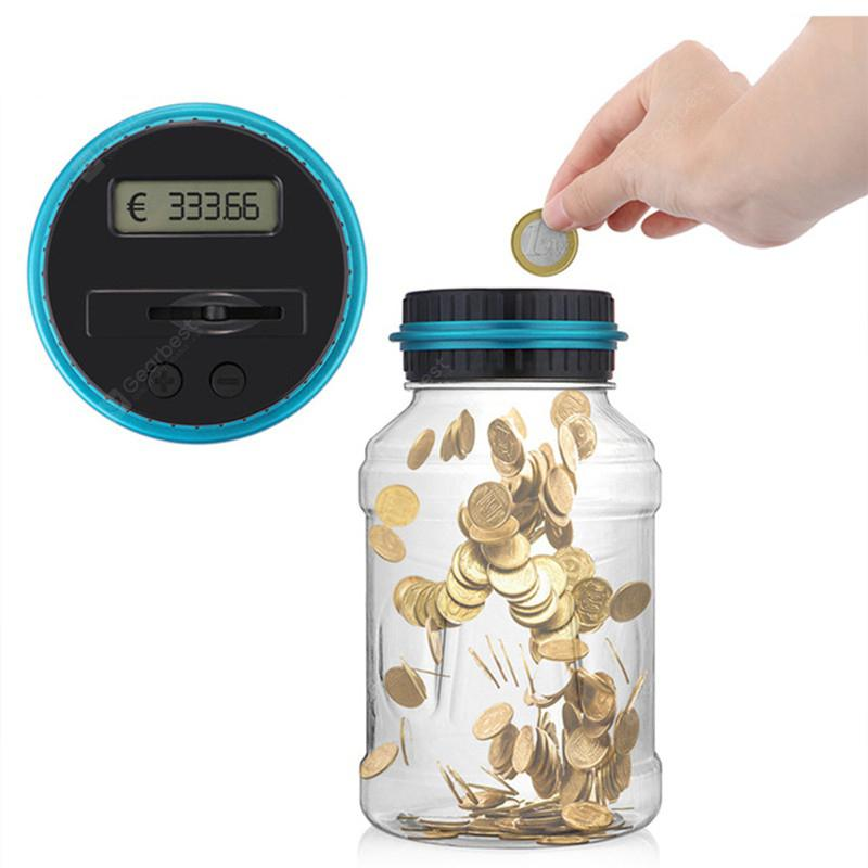 Electronic Digital Counting Coin Money Saving Box LCD Display Piggy Bank EURO