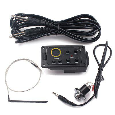 Acoustic Guitar 4-Band EQ Equalizer Preamp Piezo Pickup Tuner kaish 3x black 3 ply guitar single coil pickup surround ring for st sized pickup