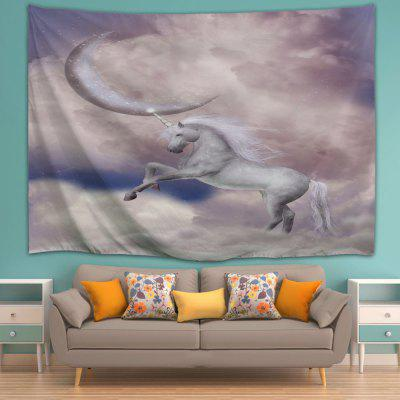 Crescent Moon Unicorn 3D Printing Home Wall Hanging Tapestry for Decoration