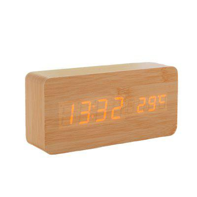 Wooden Clock With A LED Display Portable Voice Control Clock