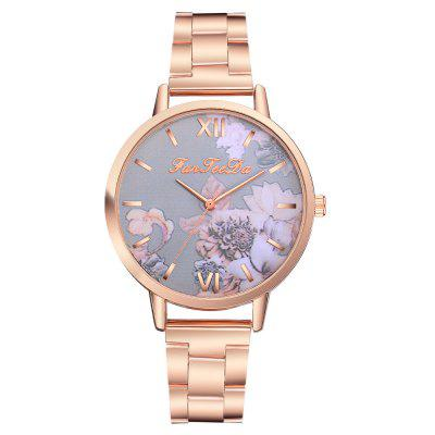 Fanteeda FD141  Women Big Face Rose Gold Floral Wrist Watch