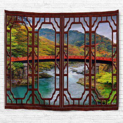 Red Window Longbridge 3D Printing Home Wall Hanging Tapestry for Decoration