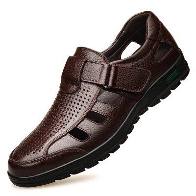 Muhuisen Men Leather Sandals Casual Beach Shoes
