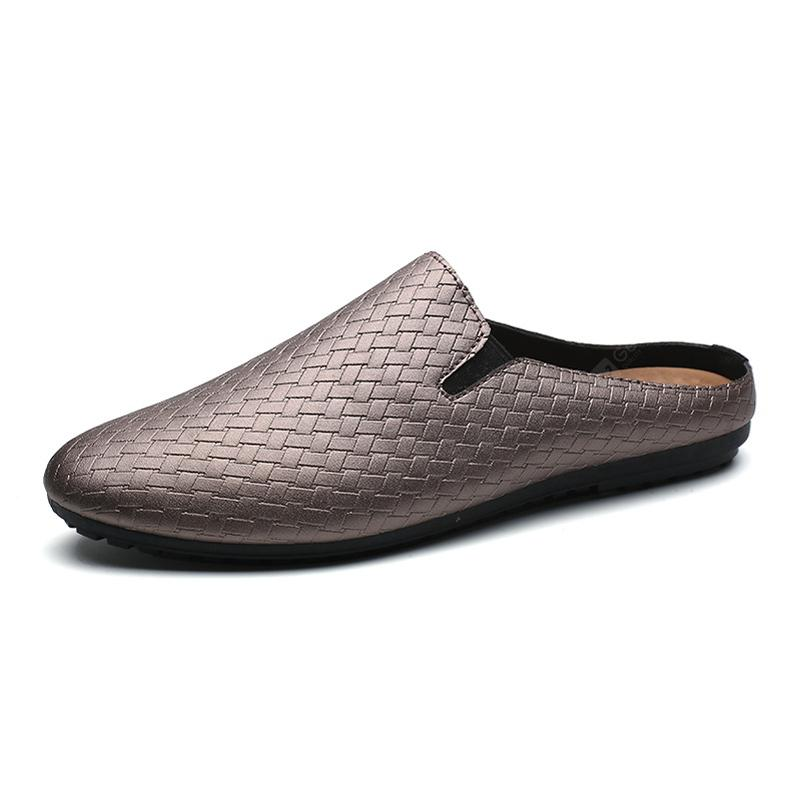 Men Solid Fashion Weave Upper Slippers