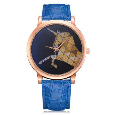 Lvpai P320 Women Geometric Unicorn PU Leather Watch