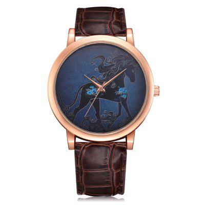 Lvpai P326 Women Horse Dial Analog Quartz Leather Watch