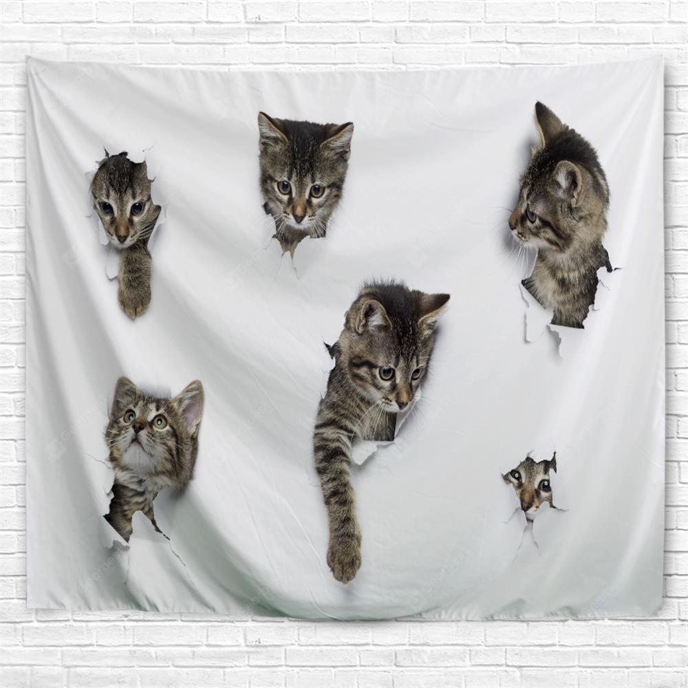Breaking Paper Kitten 3D Printing Home Wall Hanging Tapestry for Decoration