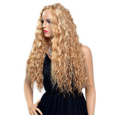 Women Fashion Blonde Corn Perm Long Curly Fluffy Heat Resistant Synthetic Wigs fashion fluffy charming long wavy honey blonde heat resistant synthetic lace front wig for women