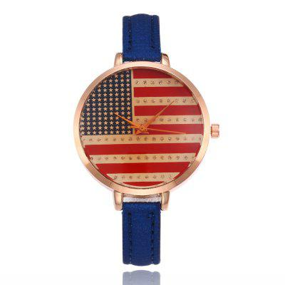 New Fashion Lady Fine Strap Casual Estudante Bandeira Quartz Watch