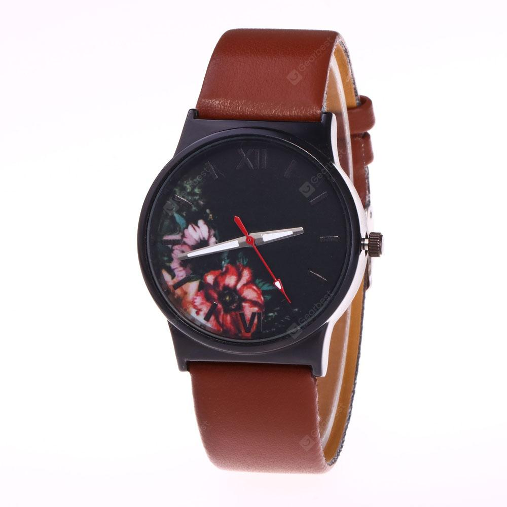 New Fashion Minimalist Lady Flower and Grass Quartz Watch