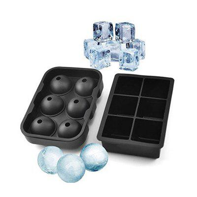 Ice Cube Trays Silicone Set of 2 Sphere Round Ice Ball Maker