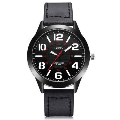 GAIETY G543 Men's Black Bezel PU Leather Wrist Watch зонт doppler 74667g black cant