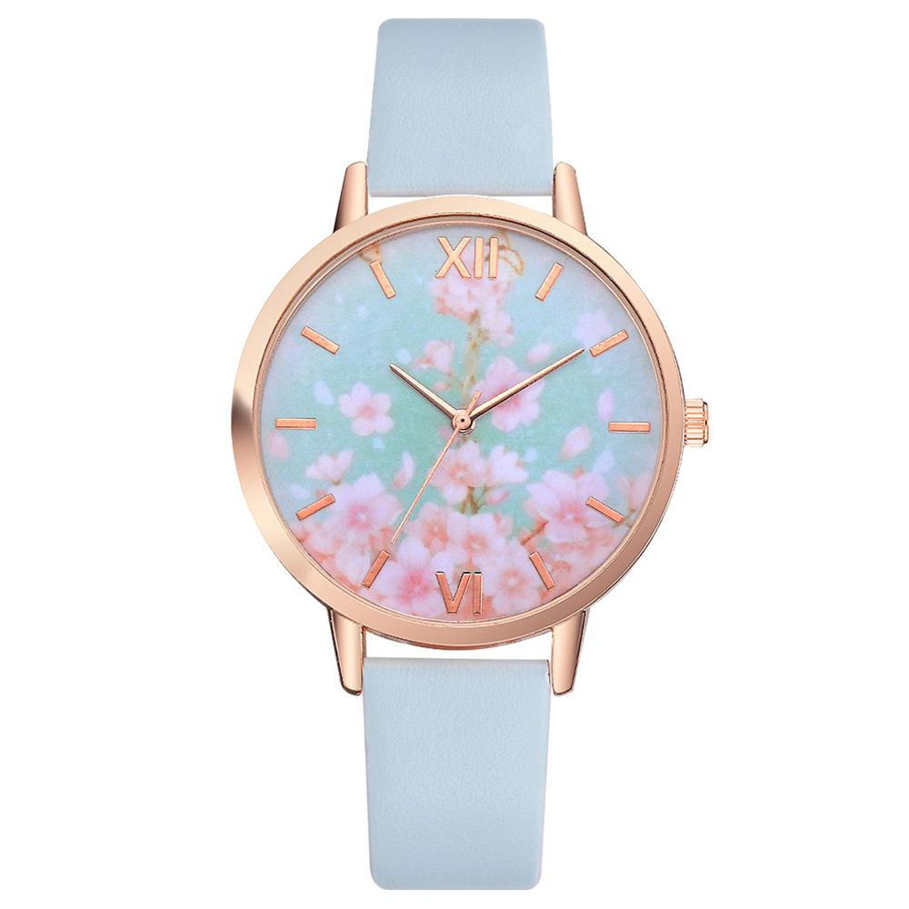 Lvpai P466 Women Fashion Flowers Dial Pu Band Quartz Watch
