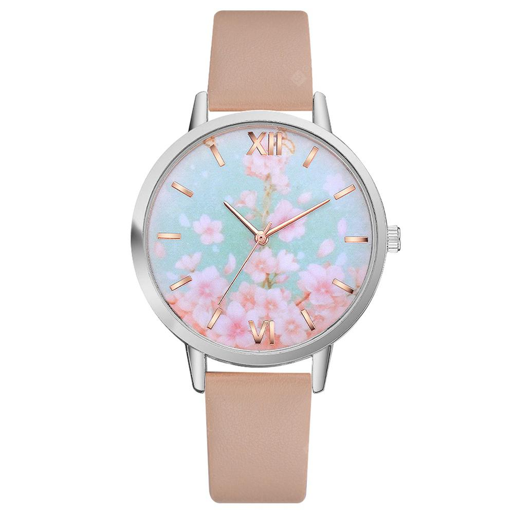 Lvpai P467 Women Fashion Flowers Dial Leather Band Quartz Watch