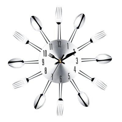 Stainless Steel Knife and Fork Spoon Restaurant Wall Clock Home Decoration