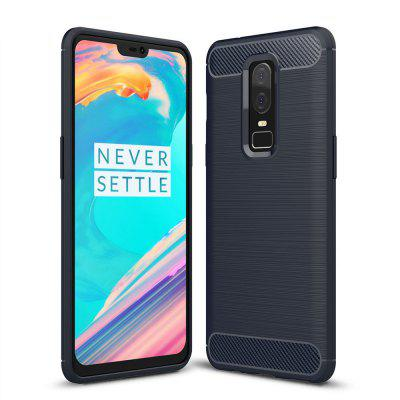 Carbon Fiber Shock Resistant Brushed Texture Soft TPU Cover for One Plus 6