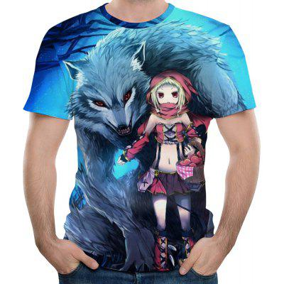 2018 Summer Fashion Cartoon Wolf Print Men's Short Sleeve T-Shirt