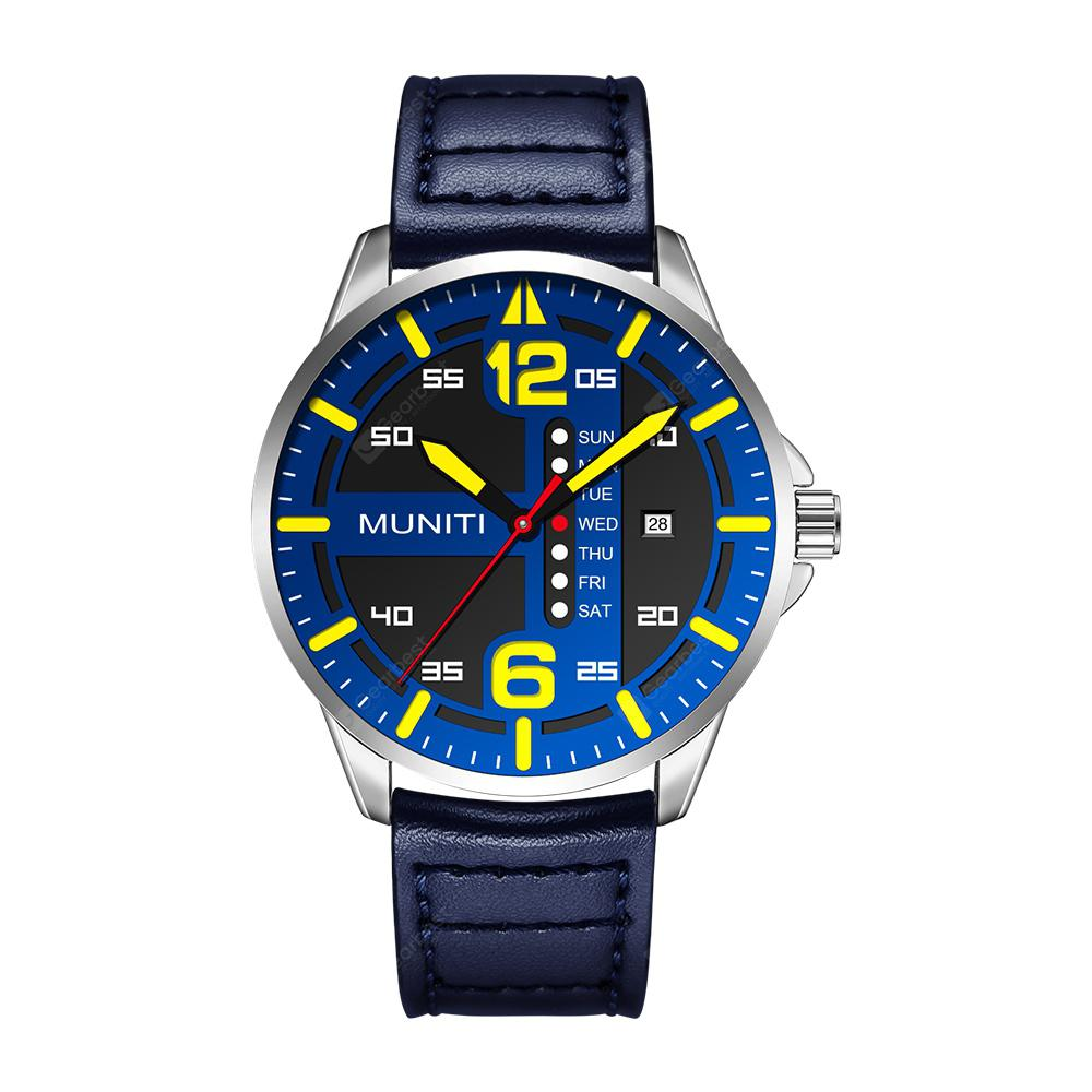 MUNITI Men Sport Watch Fashion and Casual Male Quartz Wristwatch Leather