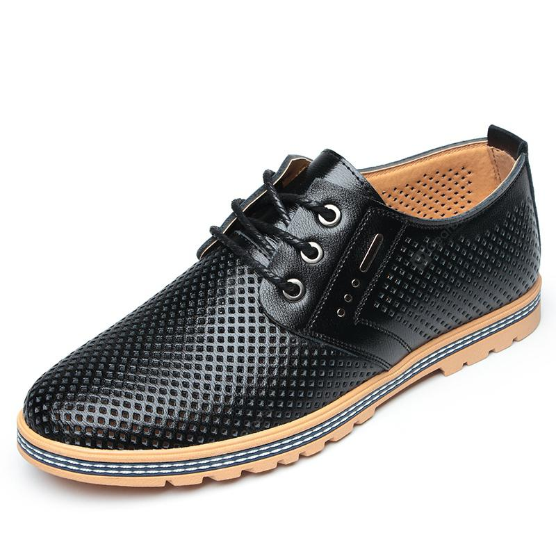 MUHUISEN Hollow Out Breathable Men Casual Summer Lace Up Leather Business Shoes