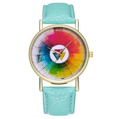 Fashion Colorful Creative Simple Quartz PU Dress Watch