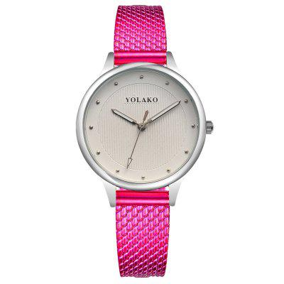 YOLAKO Fashion Women's Creative Colorful Minimalist PU Dress Watch