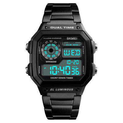 SKMEI Men Sports  Waterproof Watch Stainless Steel Fashion Digital Wristwatches
