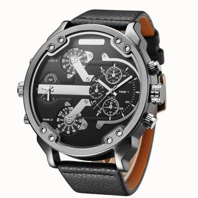Oulm 3548 Cool Multiple Time Zone Leather Strap Quartz Watch