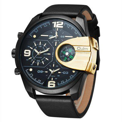 Oulm 3790 Multi-function Multiple Time Zone Compass Leather Strap Watch