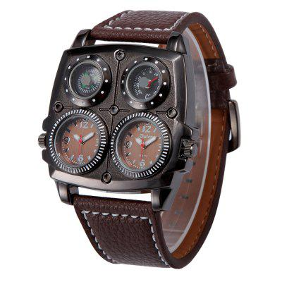 Oulm HP1140 Cool Multi-function Compass Thermometer Leather Strap Quartz Watch