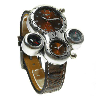 Oulm HP1149 Multi-function Big Dial Compass Thermometer Quartz Watch