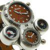 Oulm HP1149 Multi-function Big Dial Compass Thermometer Quartz Watch - BROWN