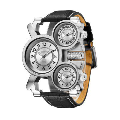 Oulm HP1167 Multi-function Multiple Time Zone PU Leather Strap Watch