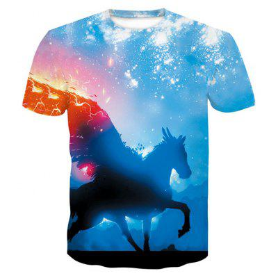 3D Horse Print Men's Casual Short Sleeve Graphic Tee T-shirt