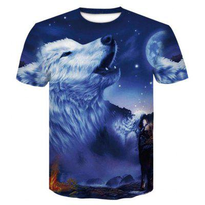 Blue 3D Print Mens Casual Short Sleeve Graphic Tee T-Shirt