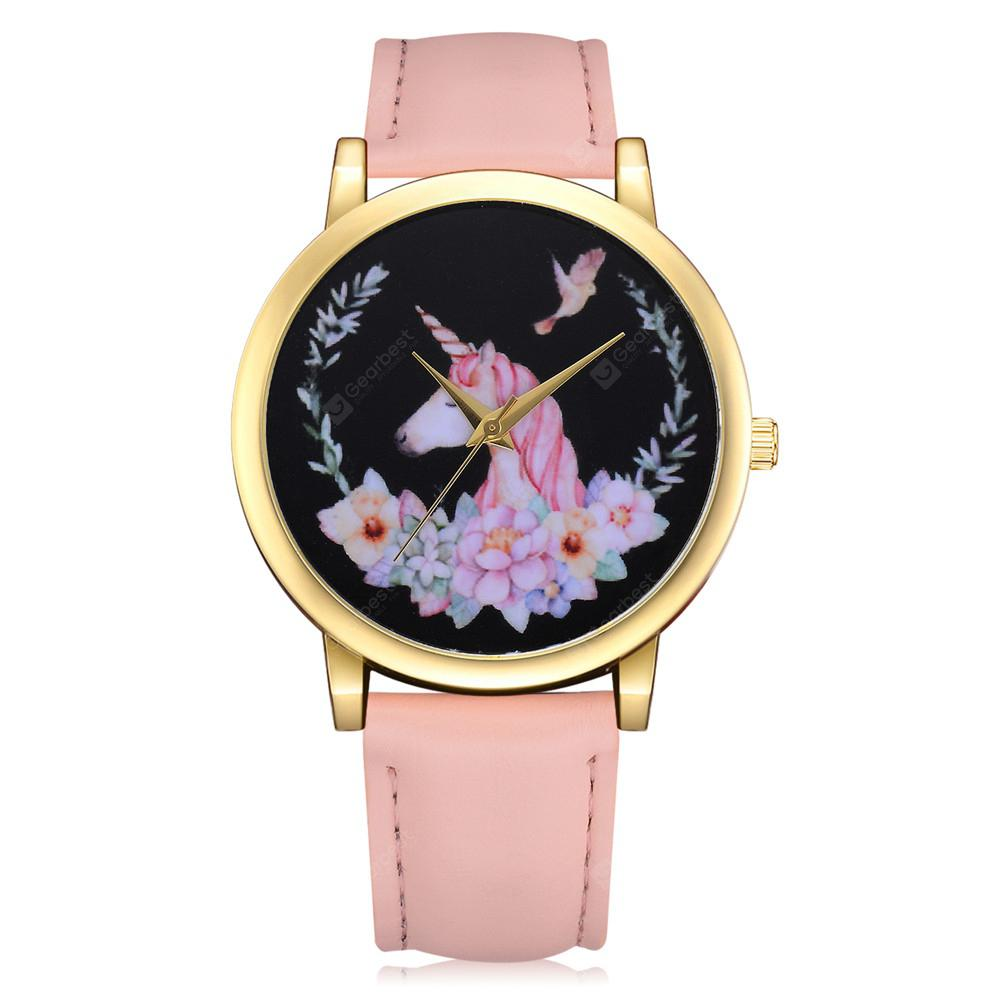 Lvpai P319 Women Unicorn PU Leather Wristwatch Jewelry Watch