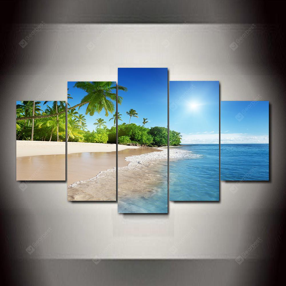 Blue Sky and Water  Frameless Printed Canvas Art Print 5PCS