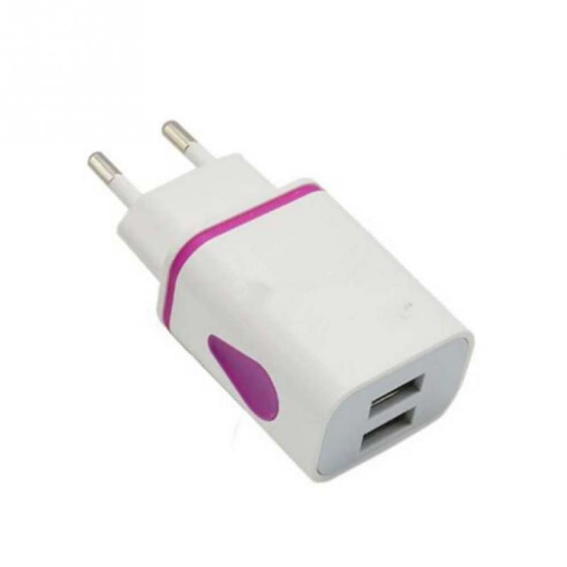 EU 2 USB Port Colorful Water Droplet Light Smartphone Universal Phone Charger