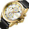 MINI FOCUS Sports Brand Luxury Chronograph Date Clock Male Leather Watch - GOLD