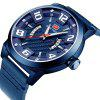 MINI FOCUS Luxury Leather Strap Sports Men Quartz Army Military Watch - NAVY BLUE