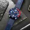 MINI FOCUS Men's Quartz Analog Date Clock Male Leather Strap Army Wrist Watch - BLUE EYES