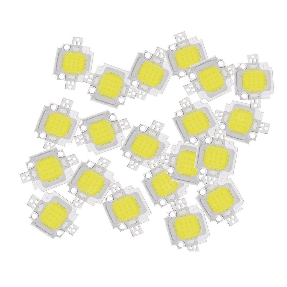 ZDM 20PCS 10W White LED  High Power Energy Saving Lamp Chip DC9-12V 0.8-0.9A