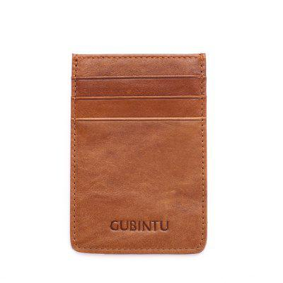 GUBINTU 111 Anti-theft Genuine Leather RFID Card Holder Mini Thin Wallet