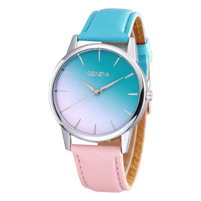 Geneva Fashion Creative Colorful Color Gradient Quartz Dress Watch