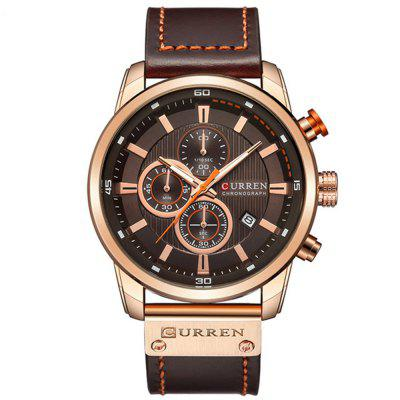 CURREN Men's Luxury Fashion Band Material Type Leather Quartz Dress Watch