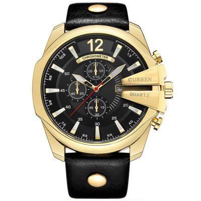 CURREN Men  's Moda Couro Banda Quartz Watch