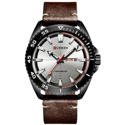 CURREN Moda męska Casual Leather Quartz Sport Dress Watch