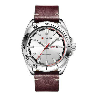 CURREN Men's Fashion Casual Leather Quartz Sport Dress Watch