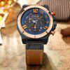 CURREN Men's Band Material Type Leather Quartz Dress Watch - CHESTNUT RED
